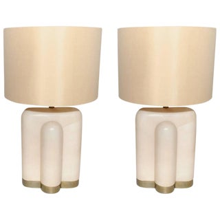 Pair of Parchment Table Lamps For Sale