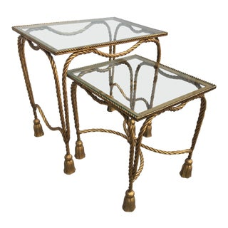 1970s Italian Gilt Rope and Glass Nesting Tables - a Pair