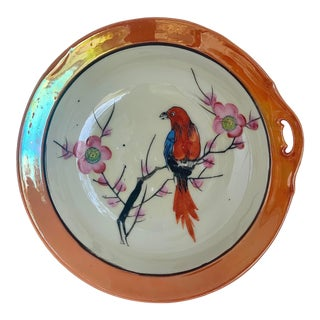 Antique Japanese Lusterware Hand Painted Bird on Cherry Branch Display Bowl, Circa Early 1900's For Sale