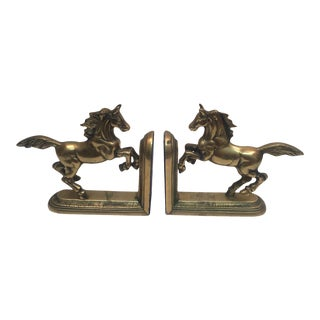 Vintage Hand Crafted Brass Horse Book Ends - a Pair For Sale