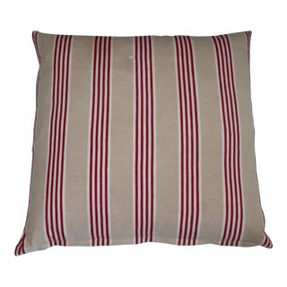 Cream W/Red Striped Ticking Pillow For Sale