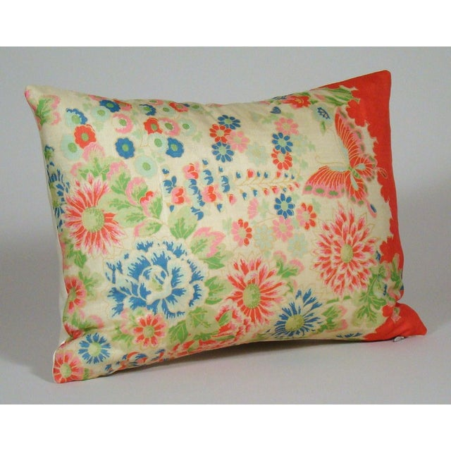 Colorful floral and butterfly pillow cover in shades of pink, red, green and blue upcycled from a vintage Chinese silk...