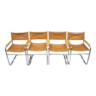 Vintage Mid Century Daystrom Chrome & Brown Vinyl Cantilever Dining Chairs-Set of 4 For Sale
