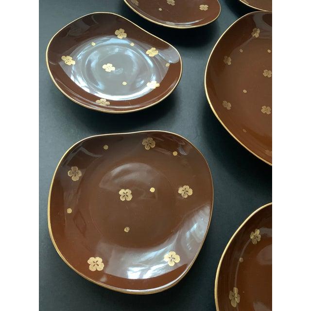 Metal Vintage Mid Century Brow Gilded Cake Dessert Serving Set - 7 Pieces For Sale - Image 7 of 11