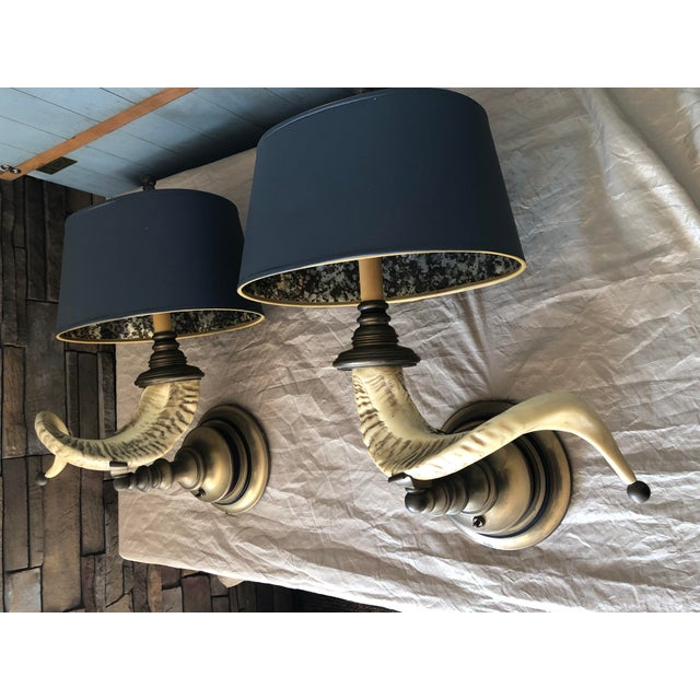 Chapman Manufacturing Company Vintage Chapman Horn Sconces - a Pair For Sale - Image 4 of 6