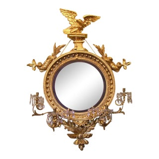 Monumental 19th C English Regency Convex Girandole Mirror with Eagle and Dolphin For Sale
