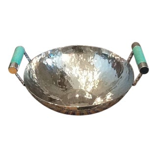 Vivo Hammered Bowl With Stingray Handles For Sale