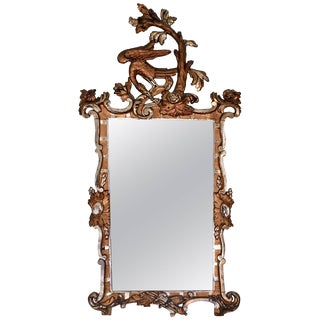 18th Century Giltwood Rococo Mirror With Ho Ho Bird For Sale
