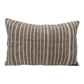 Boho Chic Brown & White Vintage Cotton Pillow For Sale