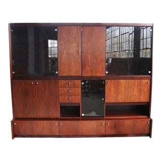 Mid Century Danish Modern Freestanding Rosewood Wall Unit For Sale