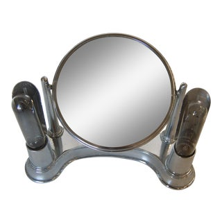 Art Deco Chrome Lightup Vanity Makeup Magnifying Mirror by Bel-Ayre For Sale