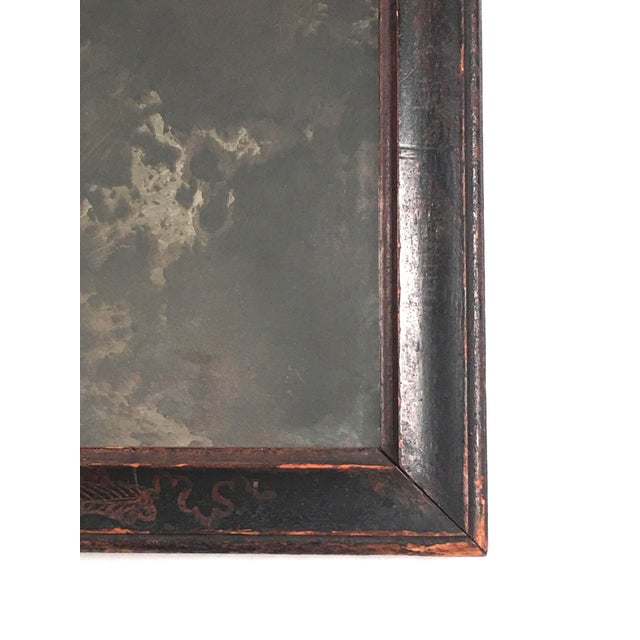 Baroque William and Mary Black Japanned or Lacquered Mirror For Sale - Image 3 of 8