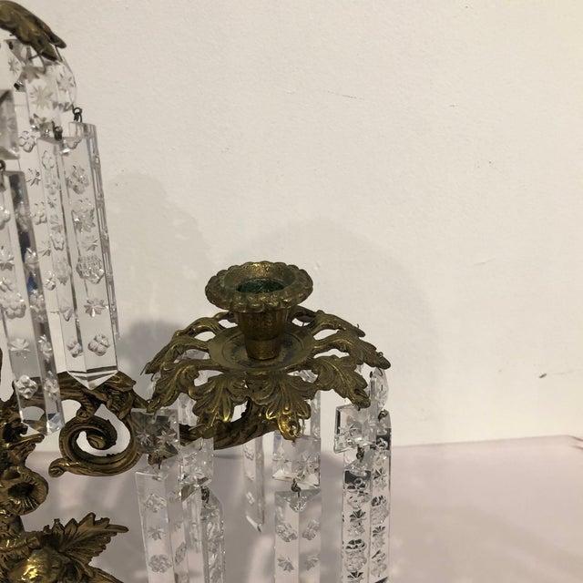Antique Brass Crystal Prism Girandole Candelabra - Set of 3 For Sale - Image 4 of 13