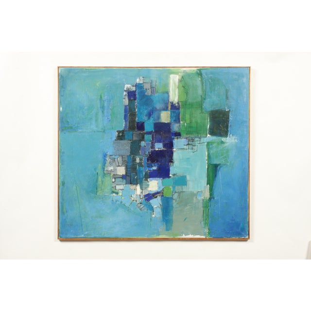 Mid-Century Blue Square Abstract Tommy Hansen For Sale - Image 10 of 10