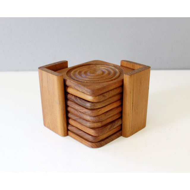 Danish Modern Dolphin Teak Coasters with Caddy - Set of 8 - Image 3 of 6