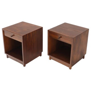Pair of Cube Shape Oiled Walnut One Drawer Mid-Century Modern End Tables Stands For Sale