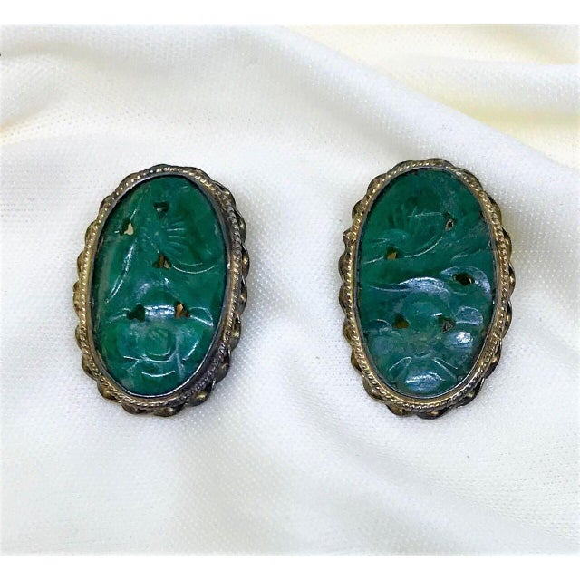Mid-Century Modern 1940s Carved Jade, Sterling and 14k Clip-Back Earrings For Sale - Image 3 of 8