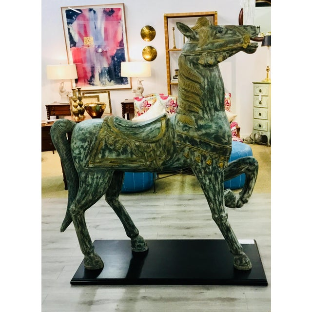 Wood Wood Carved Prancing Horse For Sale - Image 7 of 7