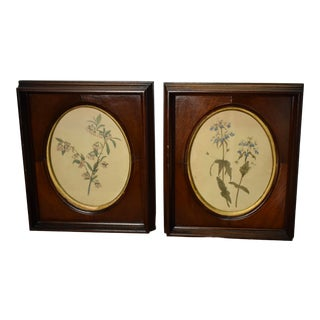 19th Century Antique Victorian Mahogany Wood Frame / Print Pictures - a Pair For Sale
