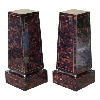 Pair of Maitland Smith Hollywood Regency Pedestals For Sale