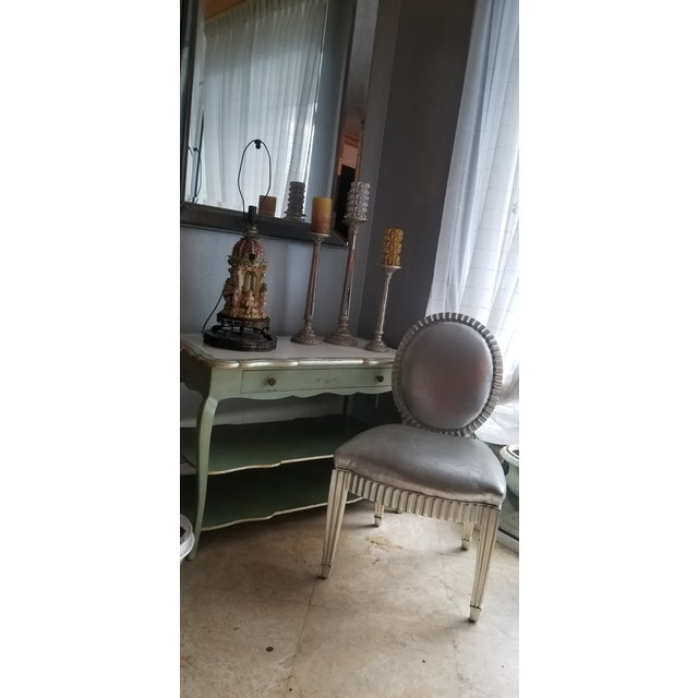 Brass 1930s Italian Florentine Painted With White Marble Top Console or Dressing Table For Sale - Image 7 of 13
