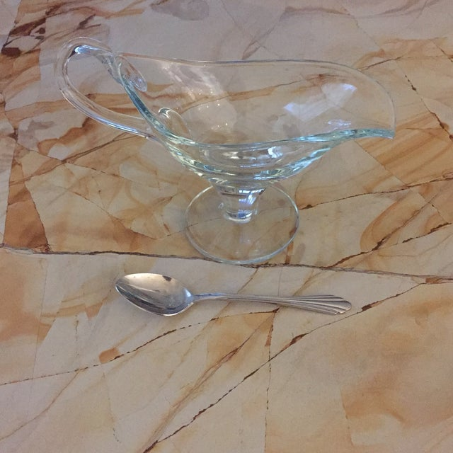 Transparent 80s Hand-Blown Heavy Glass Pedestal Gravy Boat For Sale - Image 8 of 10
