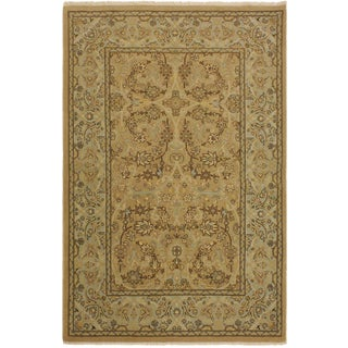 Istanbul Jerrica Tan/Blue Turkish Hand-Knotted Rug -4'1 X 5'11 For Sale