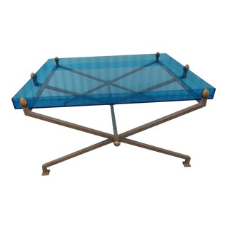 1970s Contemporary Steel and Blue Perspex Coffee Table For Sale