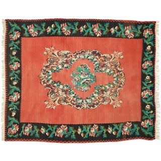 Vintage Turkish Bessarabian Rose Kilim Rug - 9′ × 10′11″ For Sale