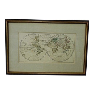 "Antique 18th C. Map-The World-""Mappe Monde"" c.1748 For Sale"