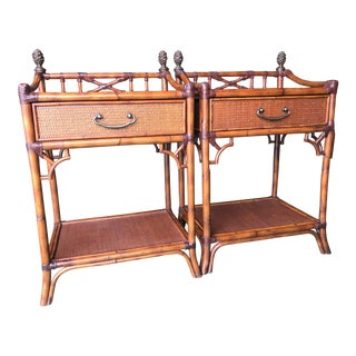 Rattan Fretwork Nightstands-Pair For Sale