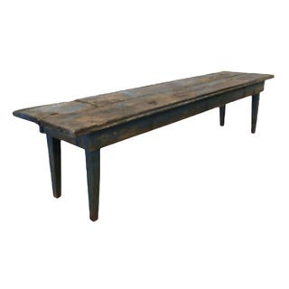 French Antique Rustic Painted Long Bench Hall Bench For Sale