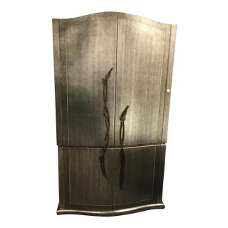 Brushed Silver Brass Leaf Vines Asian Inspired Armoire For Sale