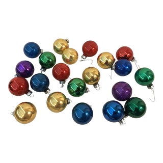 Holiday Glass Christmas Balls Ornaments - Set of 21 For Sale