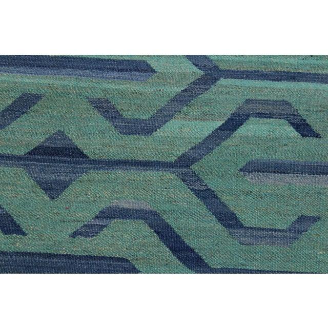 Tribal Kilim Angeliqu Green/Blue Hand-Woven Wool Rug - 3'2 X 4'11 For Sale - Image 4 of 8