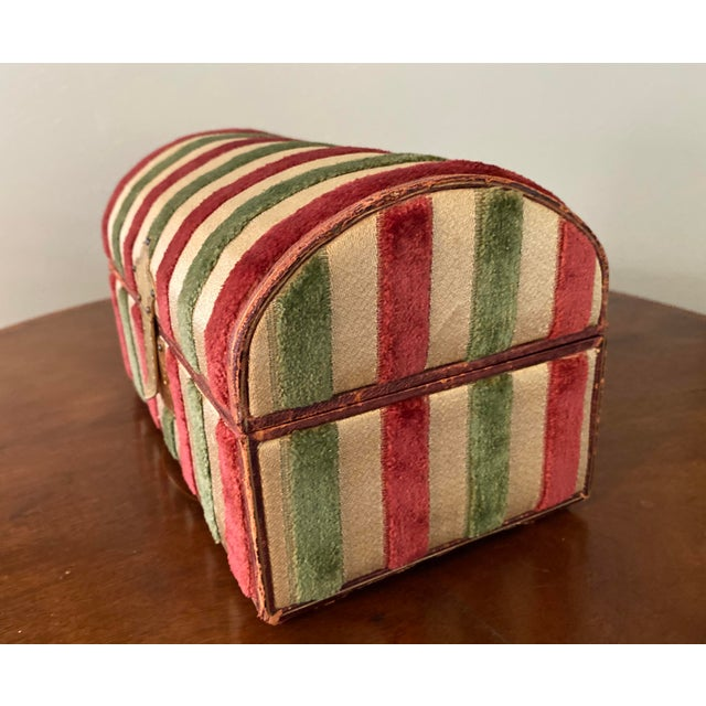 Mid 20th Century Vintage Striped Fomerz Italy Leather, Satin, Velvet, Felt Domed Box For Sale - Image 5 of 12