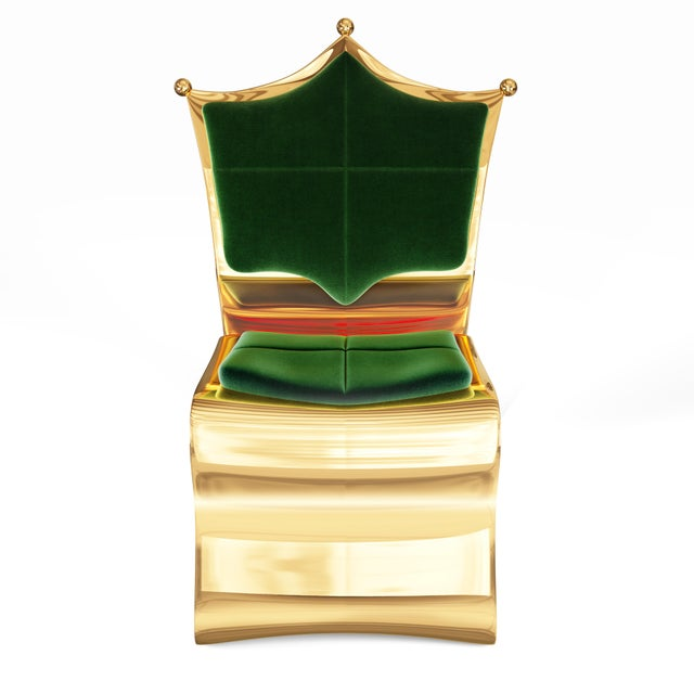 Art Deco Shield Chair by Artist Troy Smith - Contemporary Design - Handmade Furniture For Sale - Image 3 of 6