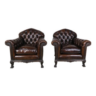 French Deco Style Leather Tufted Armchairs, Pair For Sale