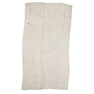 Vintage White Hemp Kilim Rug- 8′6″ × 15′11″ For Sale