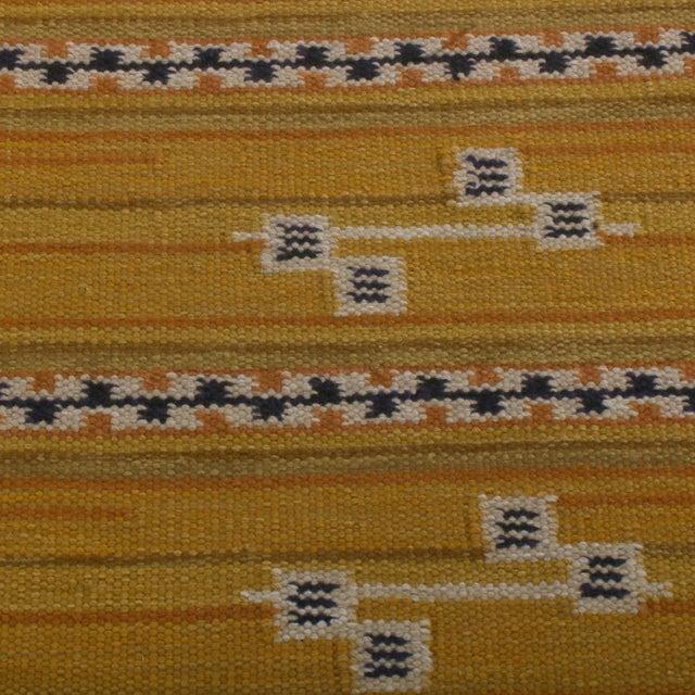 Rug & Kilim Rug & Kilim's Scandinavian Style Striped Gold and Black Wool Kilim Runner For Sale - Image 4 of 6