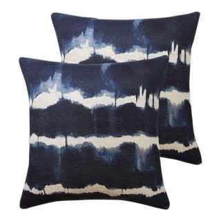 Indigo Shibori Italian Linen Designer Down Feather Pillows - Set of 2