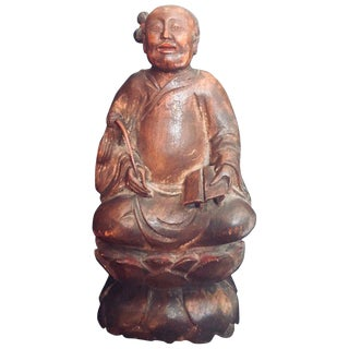 Mid 19th Century Antique Chinese Wood Carved Daoist Figurine For Sale