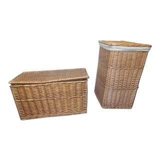 Vintage Lidded Wicker Boxes - a Pair For Sale
