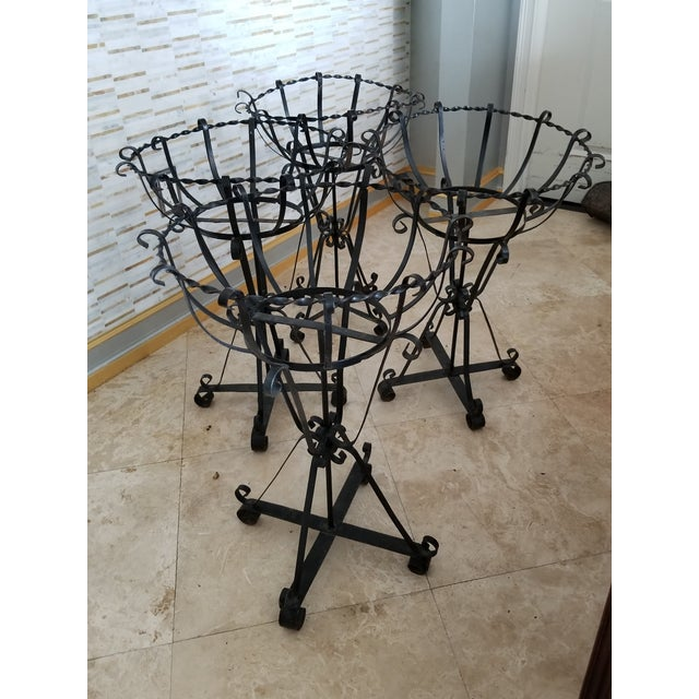 1960s Mid-Century Wrought Iron Basket Planters - Set of 4 For Sale - Image 5 of 10
