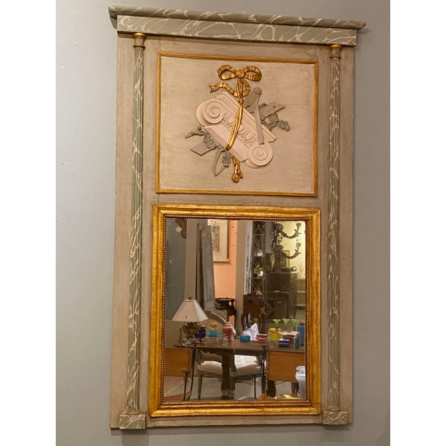 """19th Century French Painted Trumeau Mirror 41"""" Wide x 64.5"""" High"""