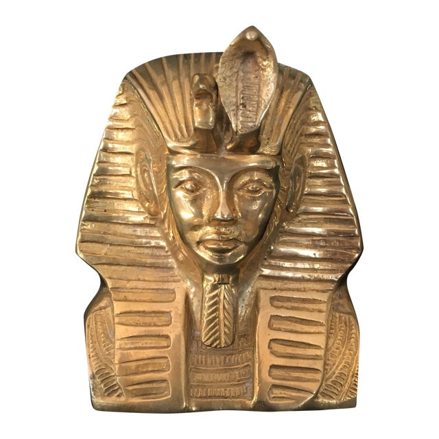 Vintage Solid Brass Egyptian Bust of King Tut For Sale