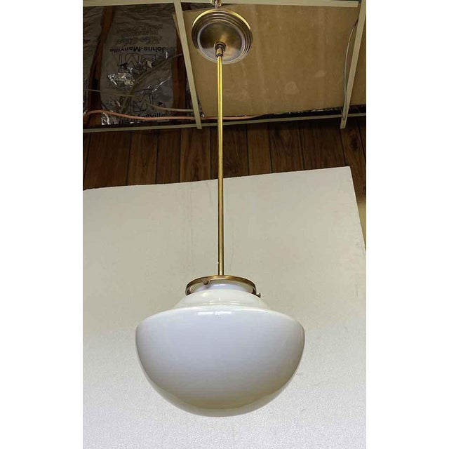 Traditional 1960 School House Globe With Brass Fitter Pendant Light For Sale - Image 3 of 5