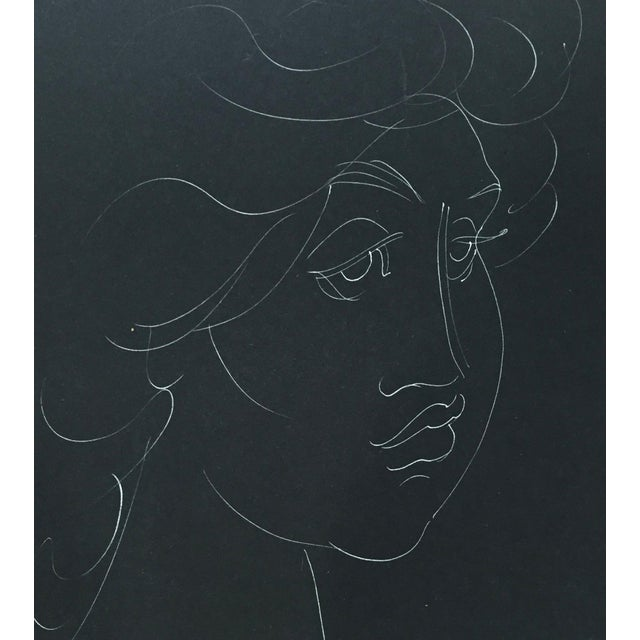 "1955 Madge Tennent ""Hawaiian Woman"" White Ink Drawing For Sale - Image 4 of 5"