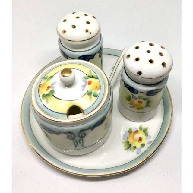 Off-white Antique 1910s Noritake Salt and Pepper Set - 4 Pieces For Sale - Image 8 of 13