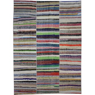 "Hand Knotted Patchwork Rug by Aara Rugs Inc. - 11'4"" X 8'0"" For Sale"